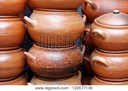 lots of clay pots at the market in Lima