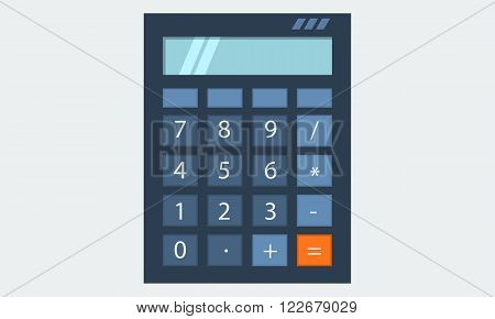 Calculator with light blue screen flat solid color design vector eps10 illustration icon