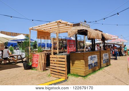 PERTH,WA,AUSTRALIA-FEBRUARY 13,2016: Embargo Bar outdoor pop-up restaurant area in the Elizabeth Quay development in Perth, Western Australia.