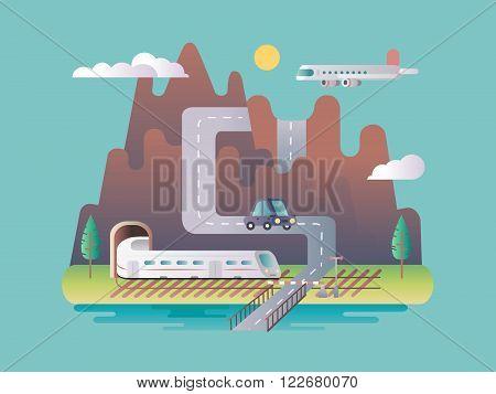Transport infrastructure design flat. Transport highway, traffic view, vehicle speed tunnel, vector illustration