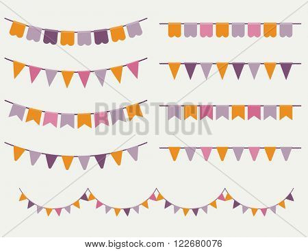 Colorful bunting and garland set. Good idea for birthday party, wedding celebration, wrapping paper, textile, wallpaper, arrival baby card and other