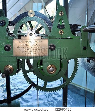 PERTH,WA,AUSTRALIA-FEBRUARY 13,2016: The Mark Creasy Turret Clock with it's mechanical gears on display at the Bell Tower in Perth, Western Australia.