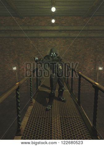 Science fiction illustration of a Steam Punk trooper with pistol standing on a bridge in an abandoned factory, 3d digitally rendered illustration (note - this is an illustration - not a photograph)