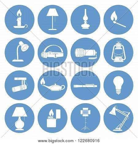 Vector Illustration of a Set of Lamp Icons.