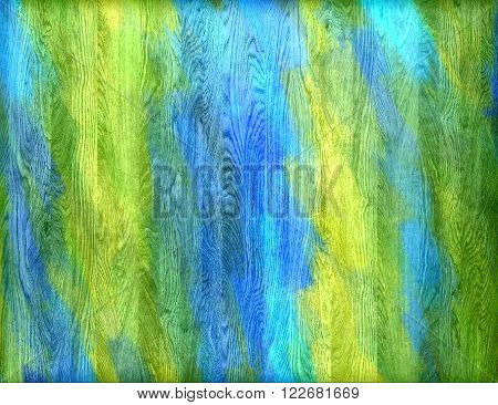 Blue green yellow painted wood wall texture or background