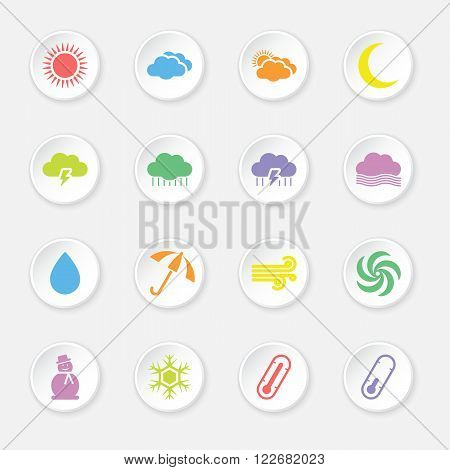 colorful flat weather forecast icon set on circle button for web design user interface (UI) infographic and mobile application (apps)