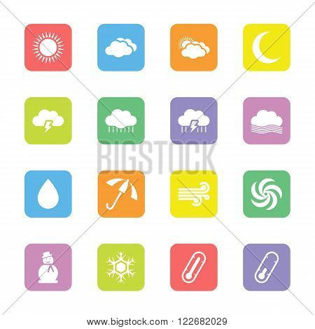 colorful flat weather forecast icon set on rounded rectangle for web design user interface (UI) infographic and mobile application (apps)