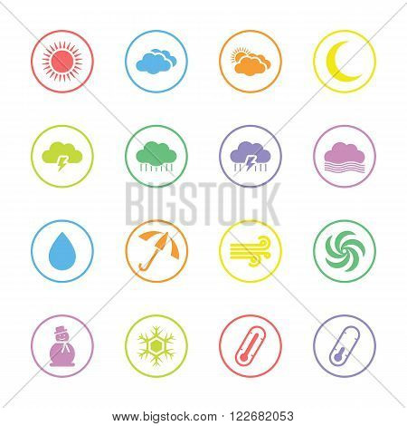colorful flat weather forecast icon set with circle frame for web design user interface (UI) infographic and mobile application (apps)