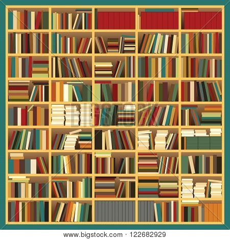 Vector Illustration of a Big bookshelf with Colored Books