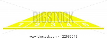 Running track in yellow design on white background