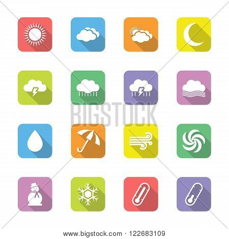 colorful flat weather forecast icon set on rounded rectangle with shadow for web design user interface (UI) infographic and mobile application (apps)