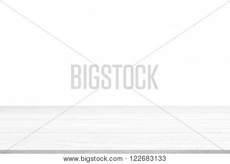 White wood table top panel isolated on white background use for display or montage products for advertisement