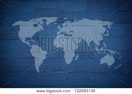 World map on striped rough surface detail of blue navy plaster wall texture background use for backdrop or design element in global concept - Elements of this image furnished by NASA