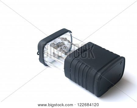 black LED flashlight or torch on white isolated background