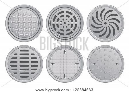 Vector Illustration of various Manhole Covers. Each Pattern in seperate layer.