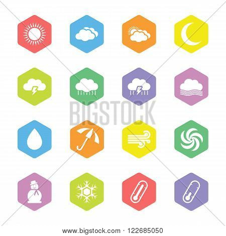 colorful flat weather forecast icon set on hexagon for web design user interface (UI) infographic and mobile application (apps)