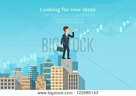Businessman looking through spyglass and looking for new ideas, trends, markets. Concept of web banner with person standing on the top of building. Modern flat design of urban landscape with city buildings, vector illustration.