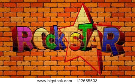 Graffiti rock star on the wall of red brick