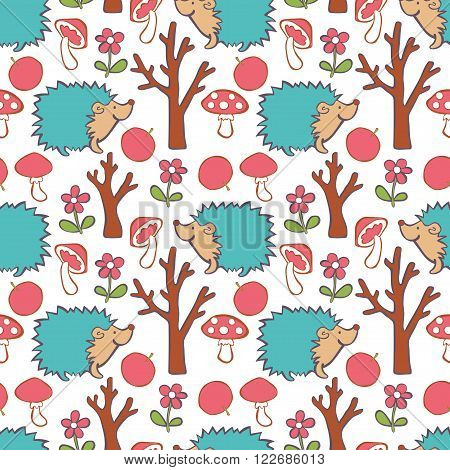 Hedgehog, red apple, flower, tree, mushroom - fly agaric. Forest. Vector seamless pattern (background).
