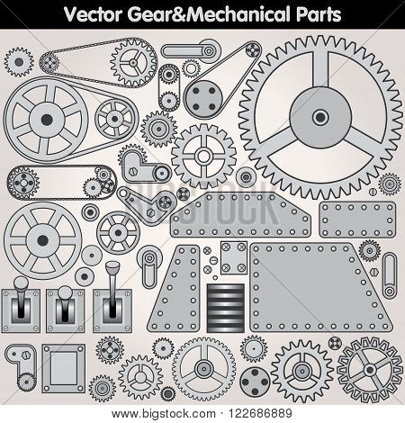 Retro Mechanical Parts - Various Gears, Levers, Arms. Vector Design Elements