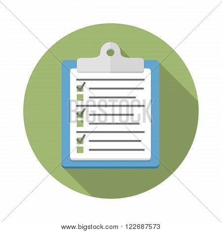 Survey or test concept, clipboard with documents with check boxes, flat design, vector eps10 illustration