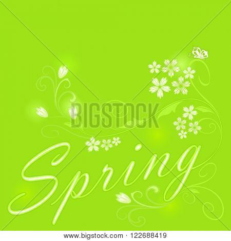 Abstract green floral spring vector background.