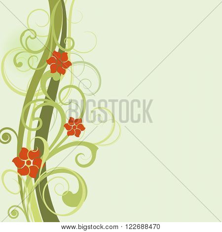 Green spring floral vector card template with copy space.