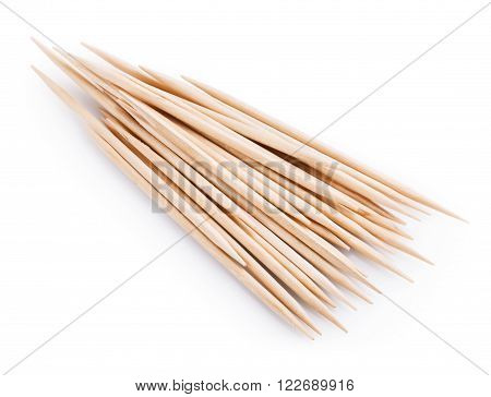 wooden toothpick isolated on white background. Clipping Path