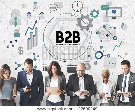 B2B Business to Business Corporate Connection Partnership Concept