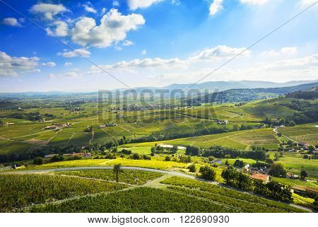 Landscape of Beaujolais and blue sky, France