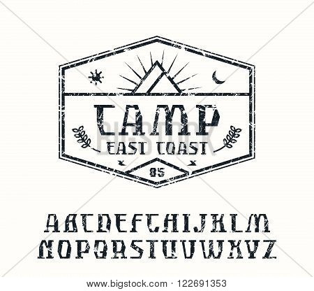 Rustic serif font and camping emblem. Graphic design for t-shirt. Black print on white background