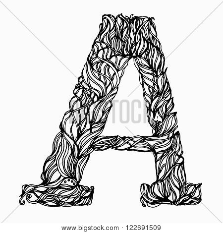 Herbarium font, type. Herbal vector letters. Letter A. Can be used as adult coloring book, coloring page.