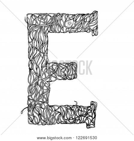 Herbarium font, type. Herbal vector letters. Letter E. Can be used as adult coloring book, coloring page.