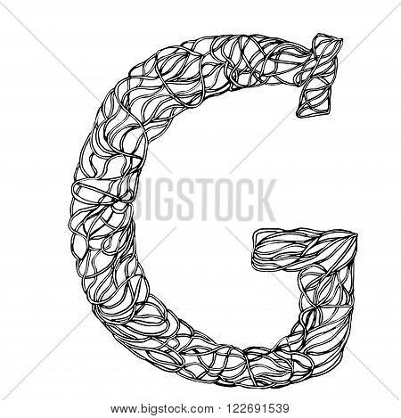 Herbarium font, type. Herbal vector letters. Letter G. Can be used as adult coloring book, coloring page.