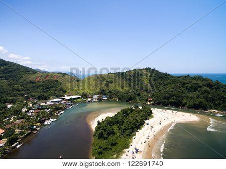 Aerial View of Barra do Una Beach, Brazil