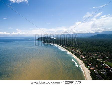 Aerial View of Brazilian Coast, Sao Sebastiao
