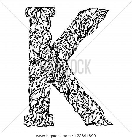 Herbarium font, type. Herbal vector letters. Letter K. Can be used as adult coloring book, coloring page.