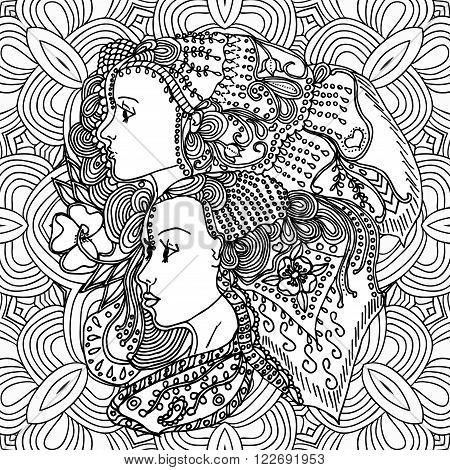 Vector girls in doodle style with gorgeous hairs on doodle background. Can be used as card, invitation, background element, adult coloring book. Hand drawn style.
