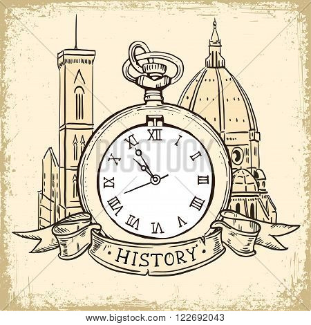 The concept of background about the history, architecture cathedral and Pocket Watch In Vintage  Style. Hand drawn ink sketch vector illustration isolated on white background