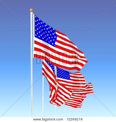 U. S Flags in wind