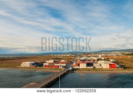 Punta Arenas Chile - December 9 2012: Landscape of the port of Punta Arenas with Magellan Strait in Patagonia Chile South America