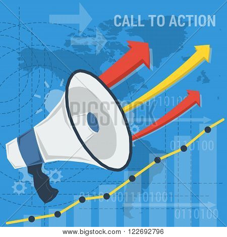 Vector business square background. Concept call to action company or earnings growth. Megaphone two up arrows with growth schedule and abstract lines. Flat style. Infographic