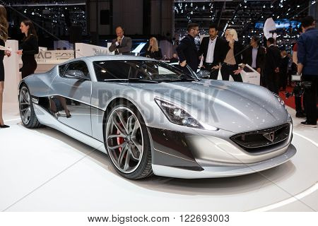 GENEVA, SWITZERLAND - MARCH 1: Geneva Motor Show on March 1, 2016 in Geneva, Rimac Concept One, front-side view