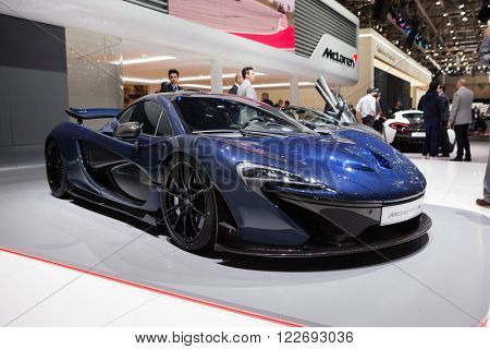 GENEVA, SWITZERLAND - MARCH 1: Geneva Motor Show on March 1, 2016 in Geneva, McLaren P1, front-side view
