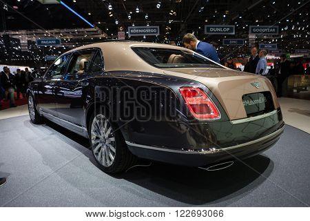 GENEVA, SWITZERLAND - MARCH 1: Geneva Motor Show on March 1, 2016 in Geneva, Bentley Mulsanne EWB, rear-side view