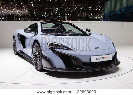 GENEVA, SWITZERLAND - MARCH 1: Geneva Motor Show on March 1, 2016 in Geneva, McLaren 675LT, front-side view