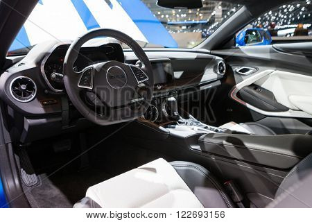 GENEVA, SWITZERLAND - MARCH 1: Geneva Motor Show on March 1, 2016 in Geneva, Chevrolet Camaro, interior view