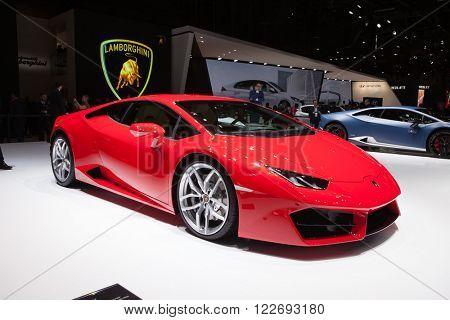 GENEVA, SWITZERLAND - MARCH 1: Geneva Motor Show on March 1, 2016 in Geneva, Lamborghini Huracan, front-side view