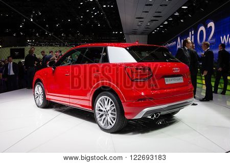 GENEVA, SWITZERLAND - MARCH 1: Geneva Motor Show on March 1, 2016 in Geneva, Audi Q2, rear-side view