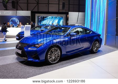 GENEVA, SWITZERLAND - MARCH 1: Geneva Motor Show on March 1, 2016 in Geneva, Lexus RC F, front-side view